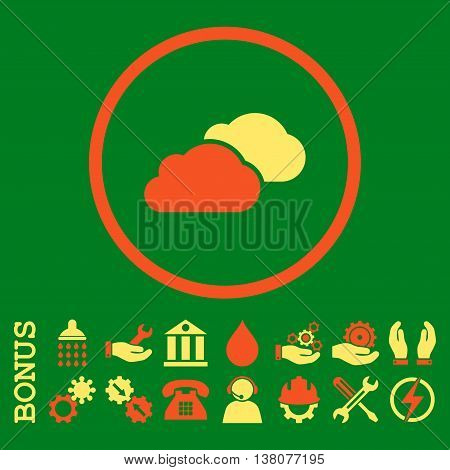 Clouds vector bicolor icon. Image style is a flat pictogram symbol inside a circle, orange and yellow colors, green background. Bonus images are included.