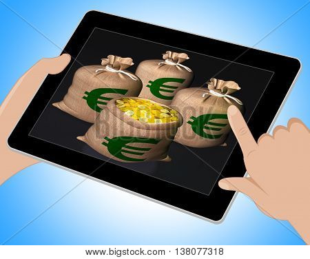 Bags Of Coins Shows European Economy Tablet