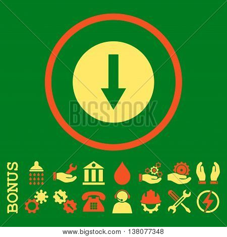 Down Rounded Arrow vector bicolor icon. Image style is a flat pictogram symbol inside a circle, orange and yellow colors, green background. Bonus images are included.