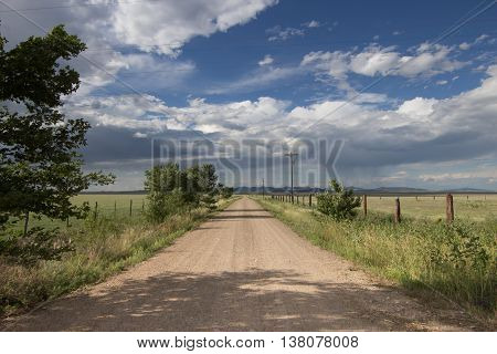 A lonely, sparsely traveled rural road on the Eastern New Mexico high plains.