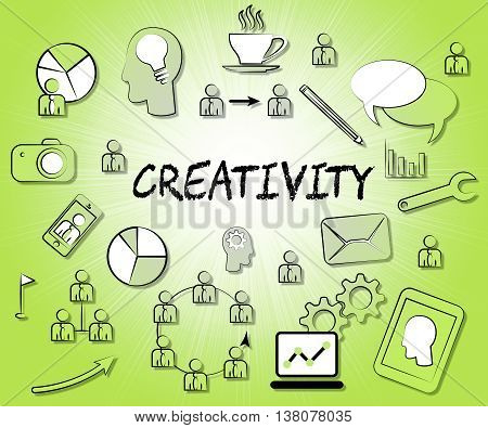 Creativity Icons Means Symbols Create And Creation