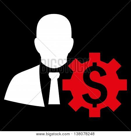 Banker Options vector icon. Style is bicolor flat symbol, red and white colors, black background.