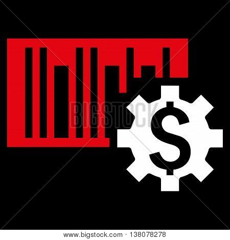 Barcode Price Setup vector icon. Style is bicolor flat symbol, red and white colors, black background.