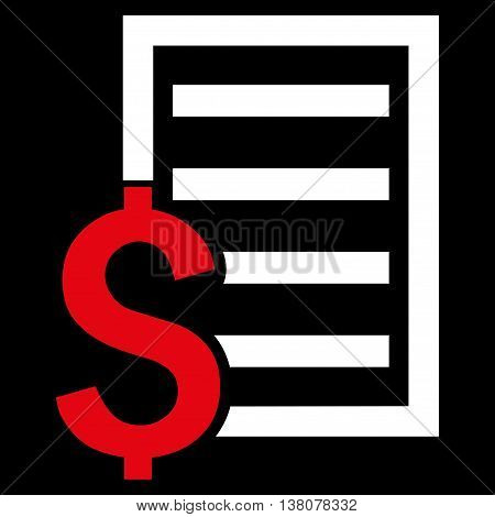 Contract vector icon. Style is bicolor flat symbol, red and white colors, black background.