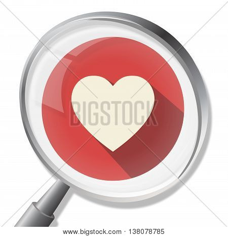 Heart Magnifier Shows In Love And Healthcare