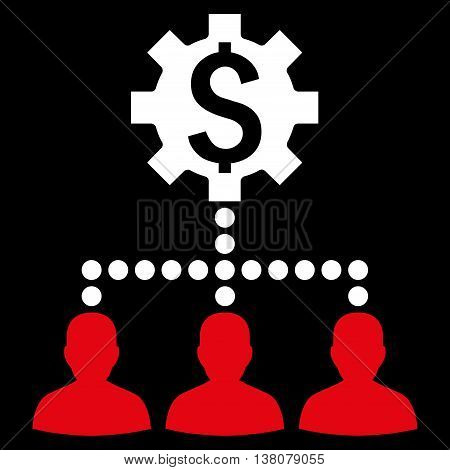 Industrial Bank Clients vector icon. Style is bicolor flat symbol, red and white colors, black background.
