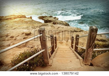 Staircase down to beach in la Jolla San Diego California