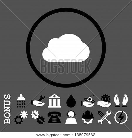 Cloud vector bicolor icon. Image style is a flat pictogram symbol inside a circle, black and white colors, gray background. Bonus images are included.
