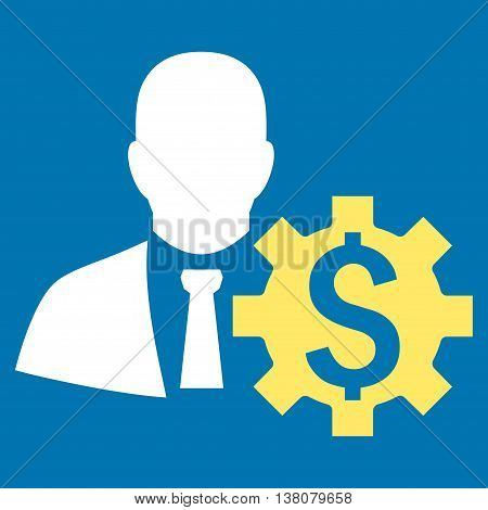 Banker Options vector icon. Style is bicolor flat symbol, yellow and white colors, blue background.