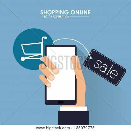 Shopping online concept represented by smartphone and shopping cart icon. Colorfull and flat illustration.
