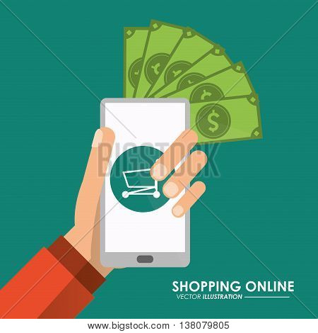 Shopping online concept represented by smartphone bills, and shopping cart icon. Colorfull and flat illustration.