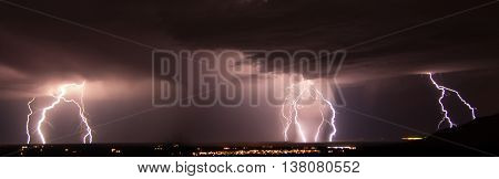 Composite lightning strike panorama over White Sands Missile Range, New Mexico.