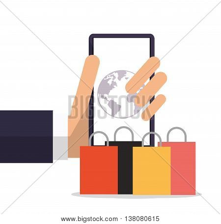Shopping online concept represented by smartphone planet and shopping bag icon. Colorfull and flat illustration.