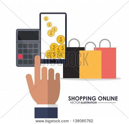 Shopping online concept represented by smartphone, coins, calculator and shopping bag icon. Colorfull and flat illustration.