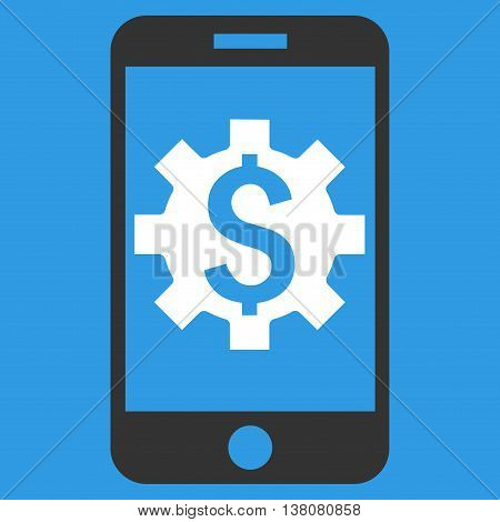 Mobile Bank Setup vector icon. Style is flat symbol, white color, blue background.