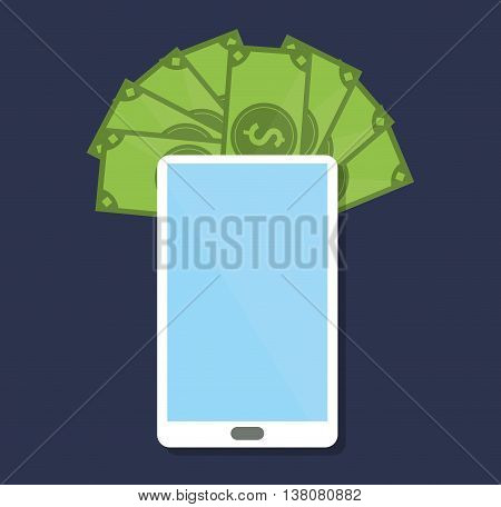 Shopping online concept represented by smartphone and bills icon. Colorfull and flat illustration.