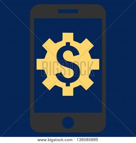 Mobile Bank Setup vector icon. Style is flat symbol, yellow color, blue background.