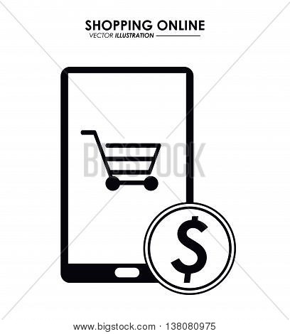 Shopping online concept represented by smartphone, coin and shopping cart icon. Isolated and flat illustration.