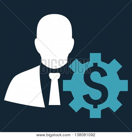 Banker Options vector icon. Style is bicolor flat symbol, blue and white colors, dark blue background.