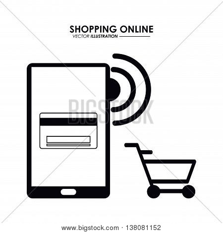 Shopping online concept represented by smartphone, credit card and shopping cart icon. Isolated and flat illustration.