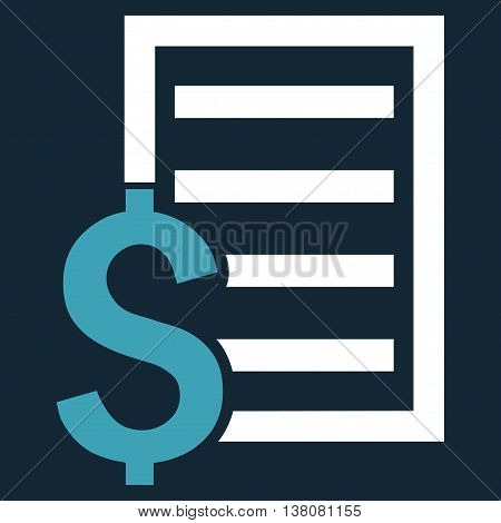 Contract vector icon. Style is bicolor flat symbol, blue and white colors, dark blue background.