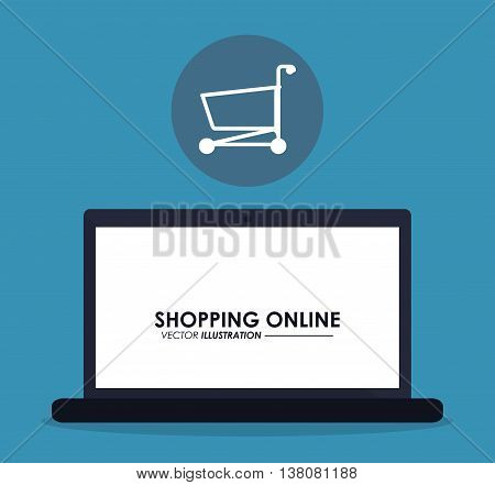 Shopping online concept represented by laptop and shopping cart inside circle icon. Colorfull and flat illustration.