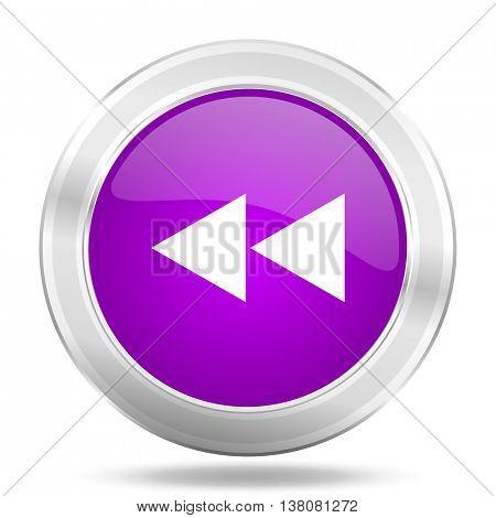 rewind round glossy pink silver metallic icon, modern design web element