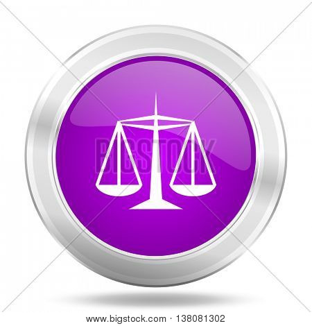 justice round glossy pink silver metallic icon, modern design web element
