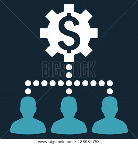 Industrial Bank Clients vector icon. Style is bicolor flat symbol, blue and white colors, dark blue background.