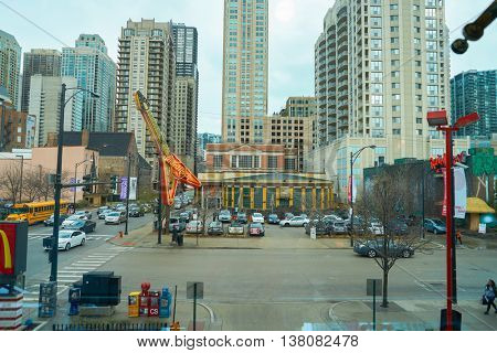 CHICAGO, IL -  MARCH 31, 2016: a view from the Rock N Roll McDonald's. The Original Rock N Roll McDonald's is a flagship McDonald's restaurant located in Chicago, Illinois