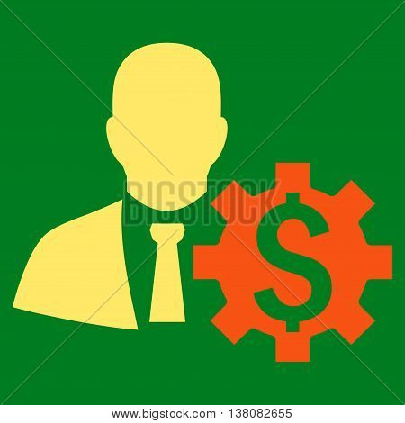 Banker Options vector icon. Style is bicolor flat symbol, orange and yellow colors, green background.