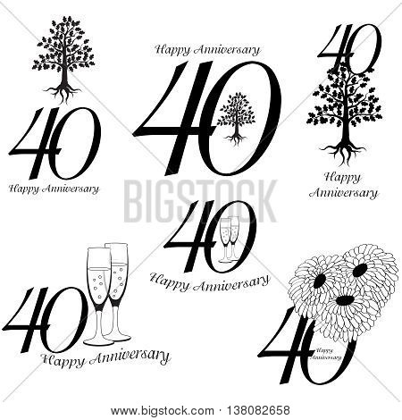 Anniversary 40th signs collection. Anniversary, birthday and jubilee emblem with oak, champagne an flowers