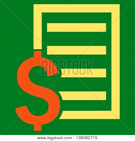 Contract vector icon. Style is bicolor flat symbol, orange and yellow colors, green background.