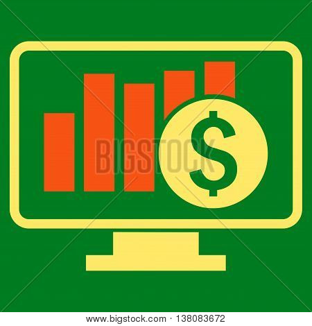 Stock Market Monitoring vector icon. Style is bicolor flat symbol, orange and yellow colors, green background.