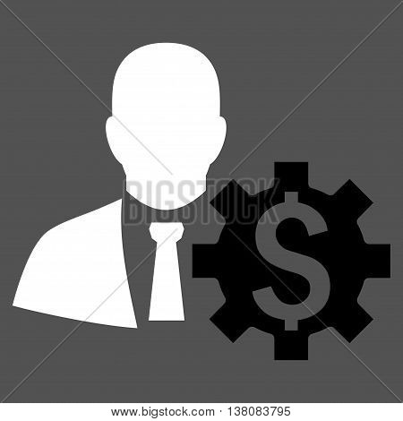Banker Options vector icon. Style is bicolor flat symbol, black and white colors, gray background.