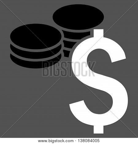 Dollar Coins vector icon. Style is bicolor flat symbol, black and white colors, gray background.