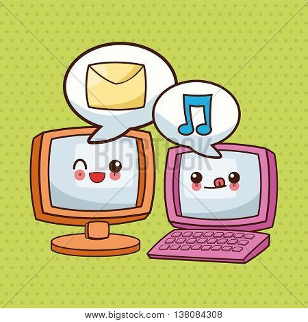 Technology and social media concept represented by kawaii computer and laptop icon. Colorfull and flat illustration.