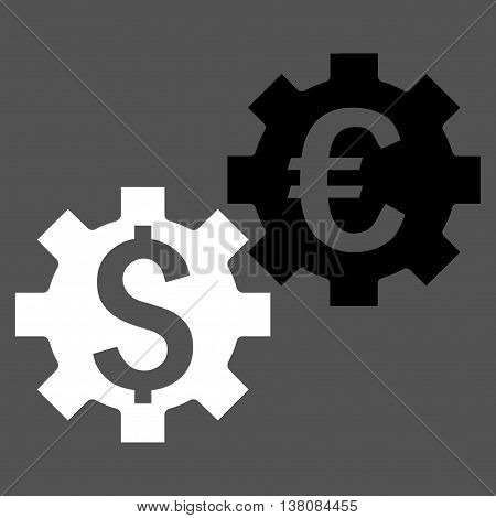 Financial Mechanics vector icon. Style is bicolor flat symbol, black and white colors, gray background.