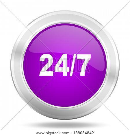 24/7 round glossy pink silver metallic icon, modern design web element