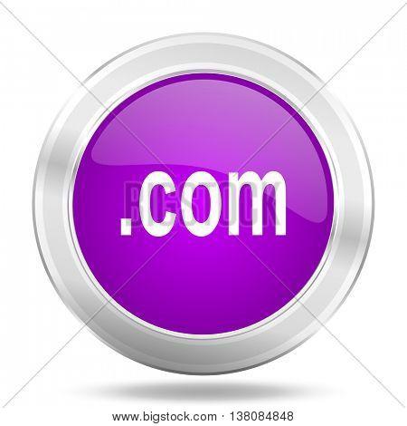 com round glossy pink silver metallic icon, modern design web element