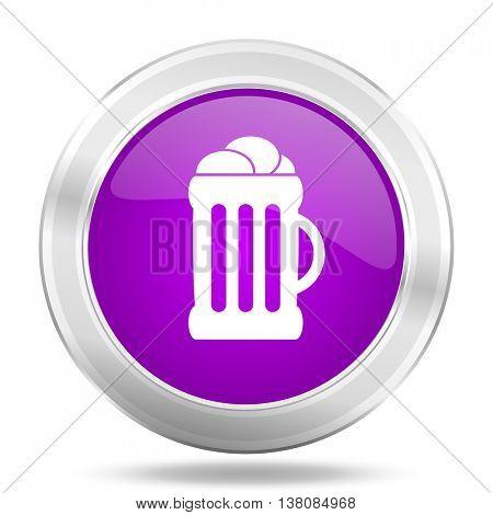 beer round glossy pink silver metallic icon, modern design web element