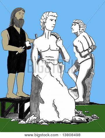 Michelangelo Carving David