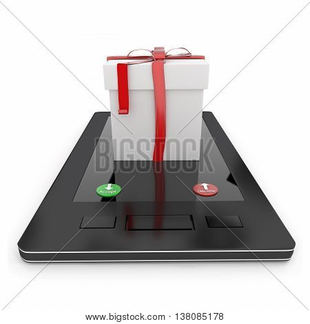 3D Gift Box On Mobile Phone , Showing Accept Or Decline Button Concept