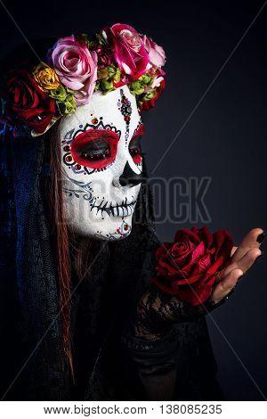 Sugar Skull Makeup Girl With Rose