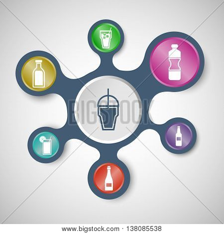 Drink infographic templates with connected metaballs, stock vector