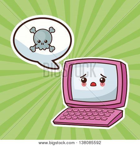 Technology and social media concept represented by kawaii laptop icon. Colorfull and flat illustration.