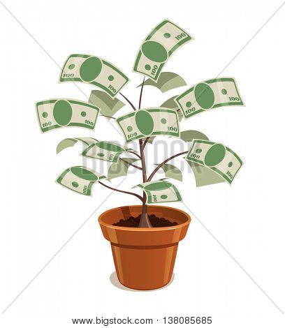 Money tree with dollars in pot vector illustration plant bank note savings finances
