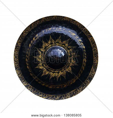 Gong isolated on white background in temple