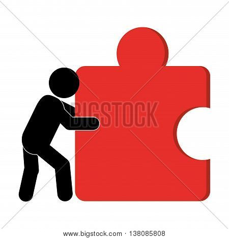 flat design person pushing puzzle piece icon vector illustration