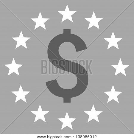 Dollar Stars vector icon. Style is bicolor flat symbol, dark gray and white colors, silver background.